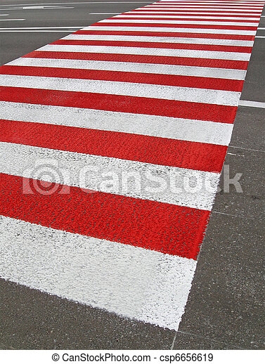 red pedestrian sign on asphalt road - csp6656619