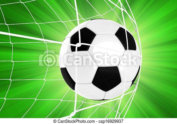 Bola de fútbol en una red - csp16929937