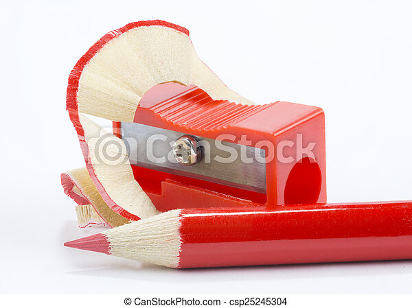 red pencil and pencil sharpener - csp25245304
