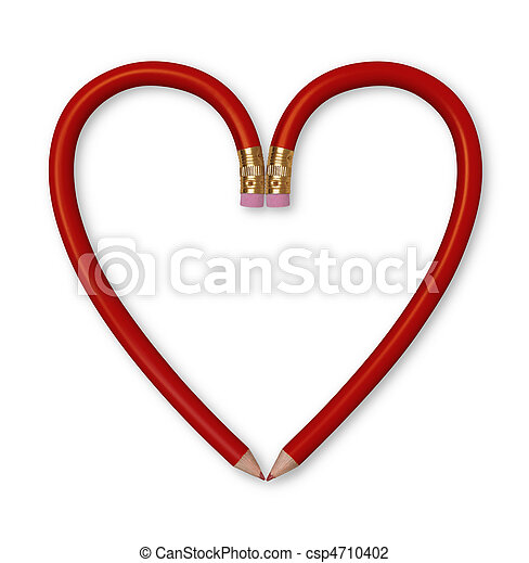 Red Pencil Heart - csp4710402