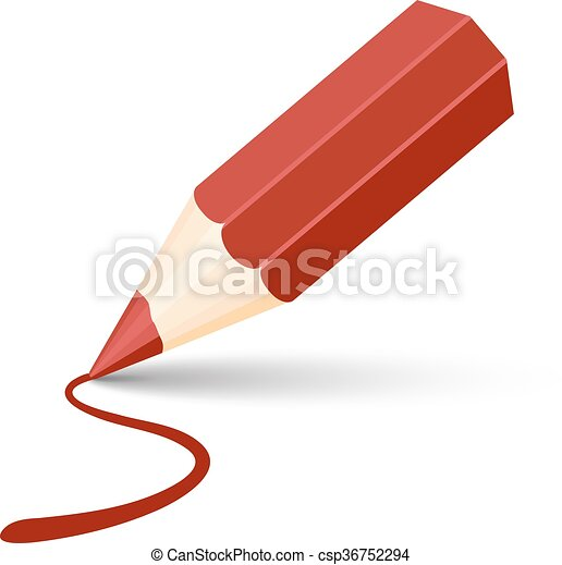 red pencil icon - csp36752294