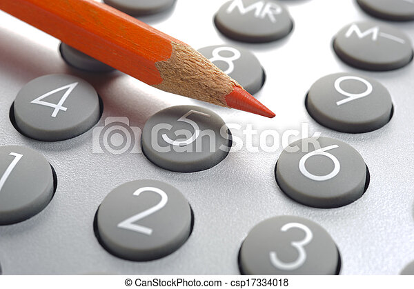 red pencil on financial calculator - csp17334018