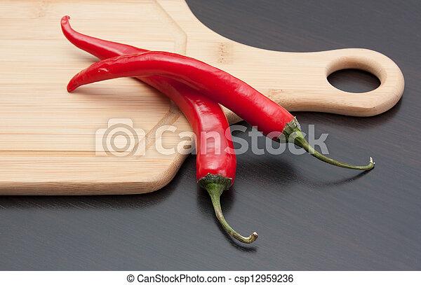 red pepper on cutting board - csp12959236