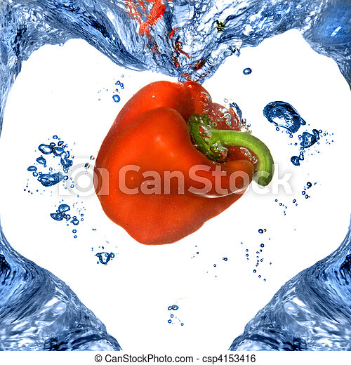 Red pepper with shape of heart from blue water isolated on white - csp4153416
