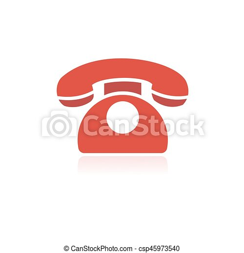Red phone icon with reflection on a white background - csp45973540