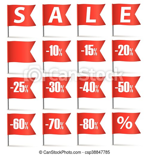 Red Pin Flags Sale Set