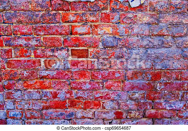 Una pared de ladrillos de color rosa brillante - csp69654687