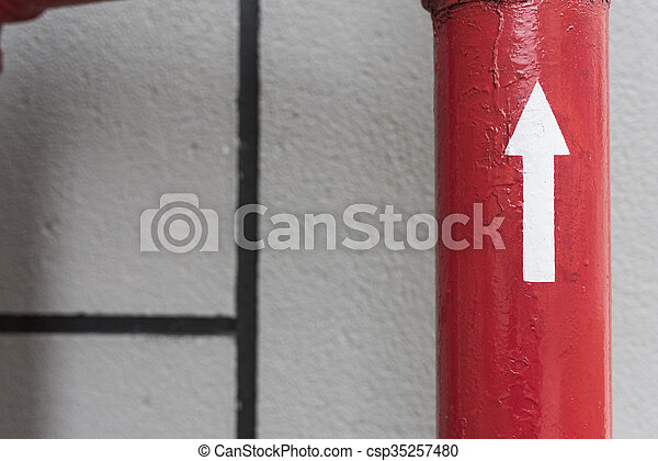 Red Pipe with Directrion - csp35257480