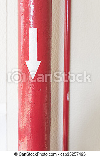 Red Pipe with Directrion - csp35257495