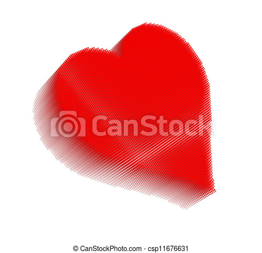 Red pixel icon-like image of heart - csp11676631