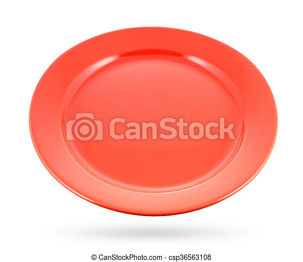 Red plate isolated on a white background. - csp36563108
