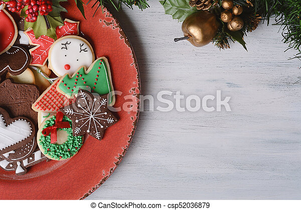 Red Plate With Colorful Christmas Cookies