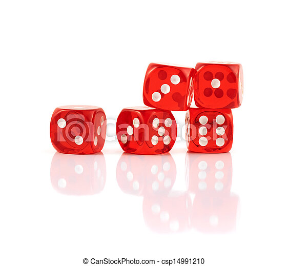 Red playing dices isolated - csp14991210