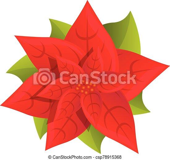 Red poinsettia icon, cartoon style - csp78915368