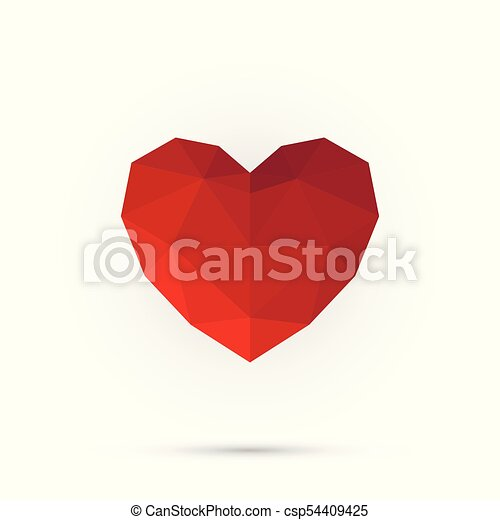 Red polygon heart. Happy valentine day. Abstract 3d shape for your design - csp54409425