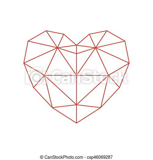 Red Polygon Heart Icon Abstract Line Icon