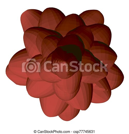 Red polygonal flower isolated on a white background. View from above. 3D. Vector illustration - csp77745631