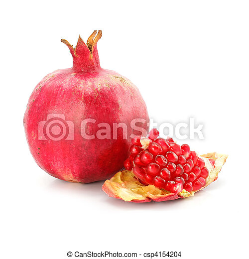 red pomegranate fruit healthy food isolated - csp4154204