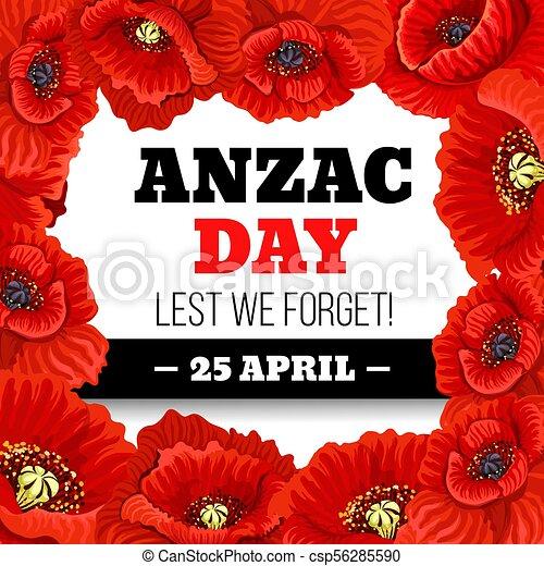 Red poppy flower frame for anzac day memorial card red poppy flower red poppy flower frame for anzac day memorial card csp56285590 mightylinksfo