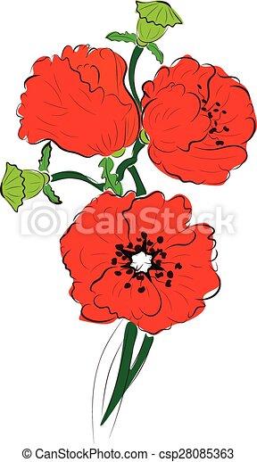 Bright red poppy flowers illustration decorative floral clip art red poppy flowers csp28085363 mightylinksfo