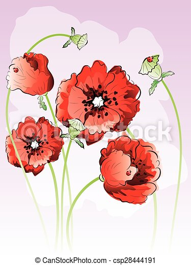 Red poppy flowers bright red poppy flowers illustration decorative red poppy flowers csp28444191 mightylinksfo