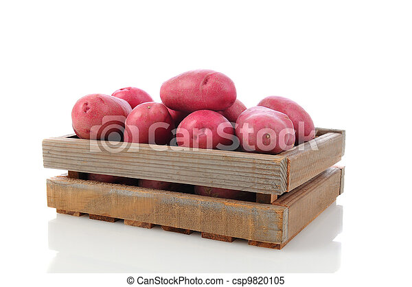 Red Potatoes in a Wood Crate - csp9820105
