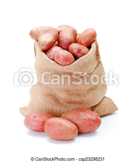 Red potatoes in sack - csp23298231