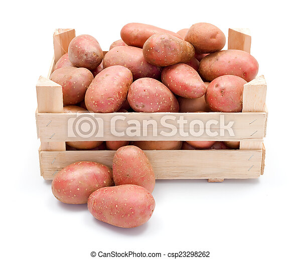 Red potatoes in wooden crate - csp23298262