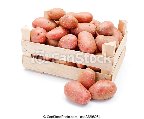 Red potatoes in wooden crate - csp23298254
