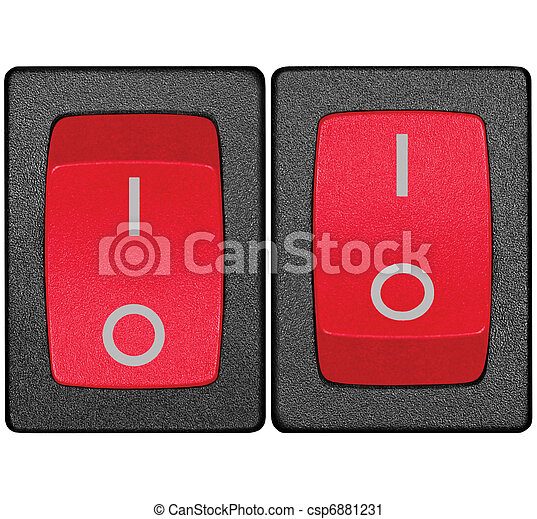 Red power switch in on off position, isolated macro closeup - csp6881231