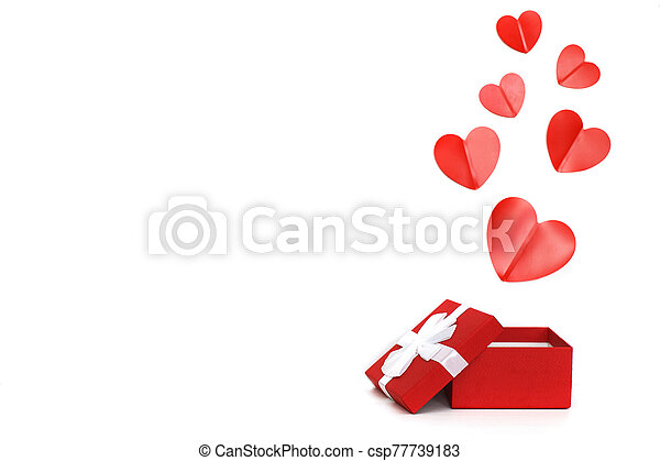 red present box with red hearts on a white background - csp77739183