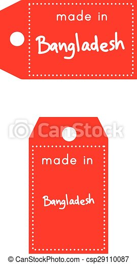 red price tag or label with white word Made in Bangladesh isolated on white  background