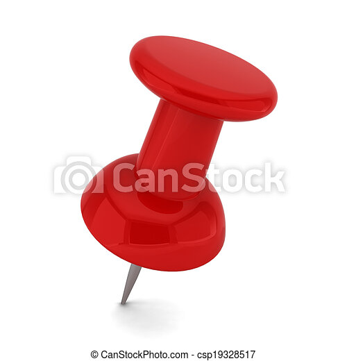 red pushpin 3d illustration on white background rh canstockphoto com red push pin clipart green push pin clipart