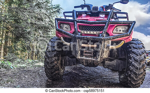 red quad bike in the forest, close-up - csp58975151