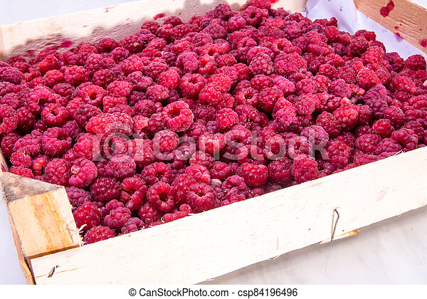 Red raspberries in the box - csp84196496