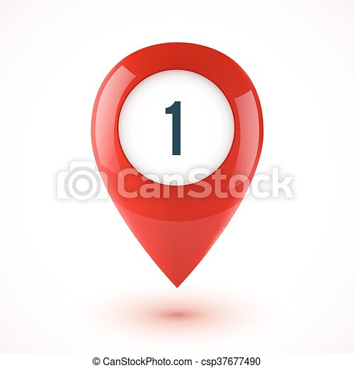 Red realistic 3D vector glossy map point symbol - csp37677490
