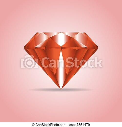 Red realistic diamond, jewelry, gemstone with shadow - csp47851479