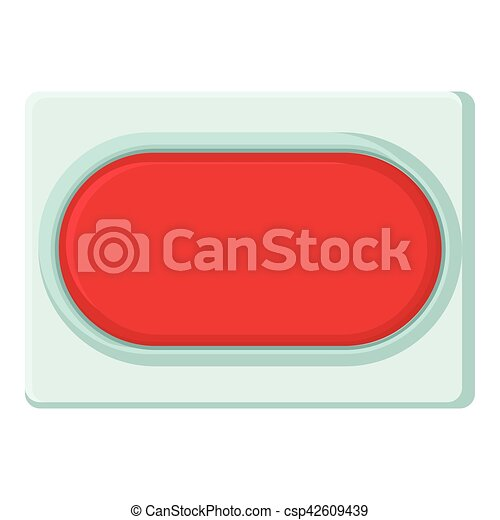 Red rectangular button icon, cartoon style - csp42609439