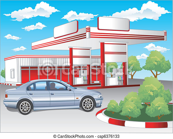 Red refuel station, BMW - csp6376133