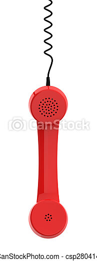 Red Retro Business Telephone Receiver Hangs by its Cord on White Background - csp28041465