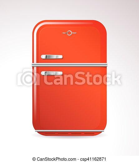 Red retro design household refrigerator - csp41162871
