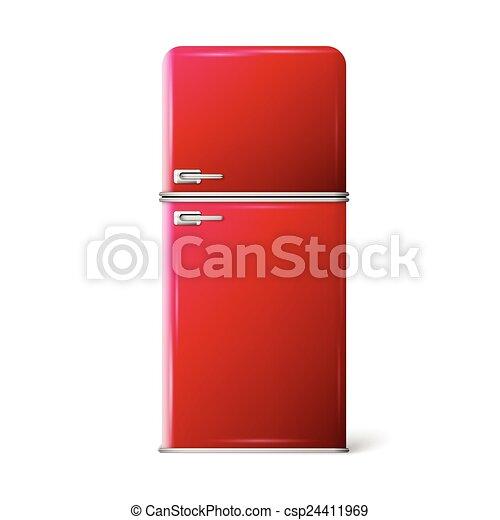 red retro refrigerator - csp24411969