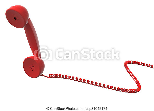 red retro telephone handset and cable - csp31048174
