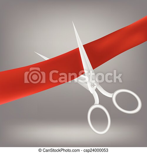 red ribbon and scissors  - csp24000053