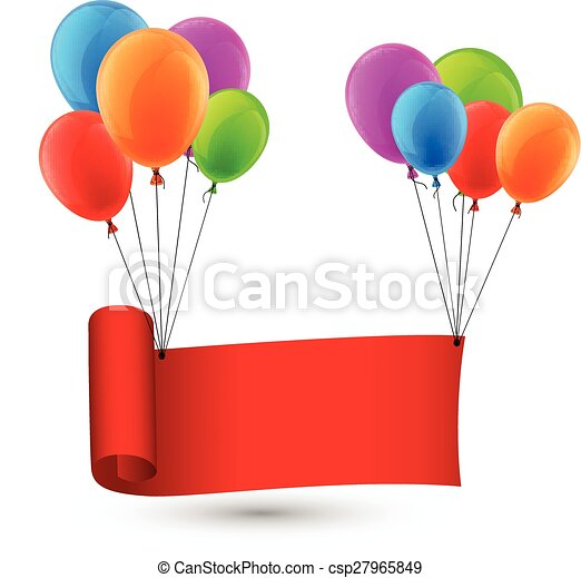 Red ribbon background with balloons. - csp27965849