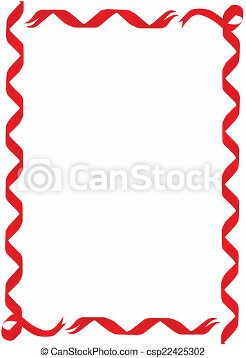Red Ribbon Border - csp22425302