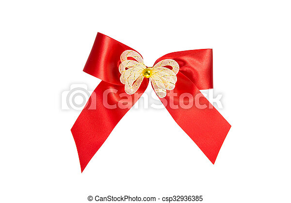 Red ribbon Bow Gift Wrap isolated - csp32936385