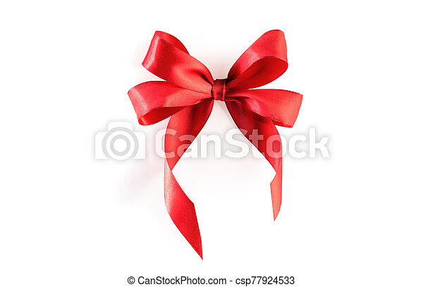 Red ribbon bow isolated - csp77924533