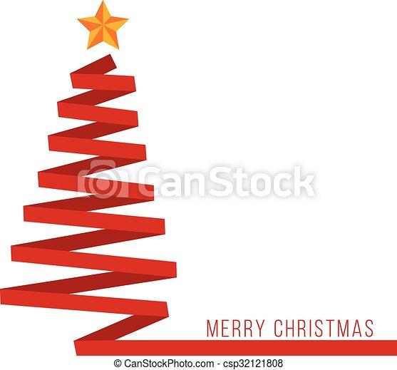 Red ribbon Christmas tree banner - csp32121808