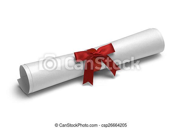 Red Ribbon Diploma - csp26664205